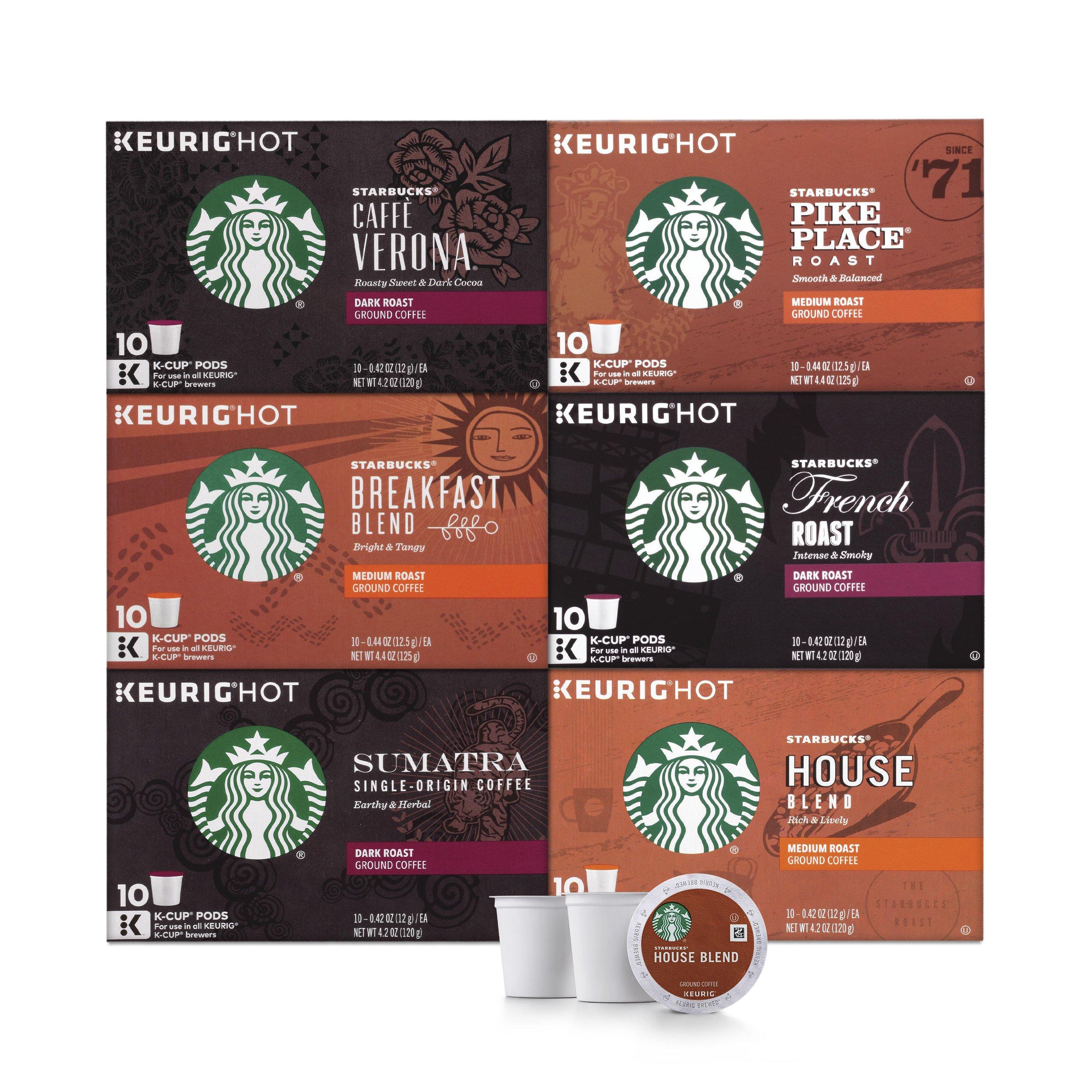 Starbucks Black Coffee K-Cup Variety Pack for Keurig Brewers, 10 Count (Pack Of 6)