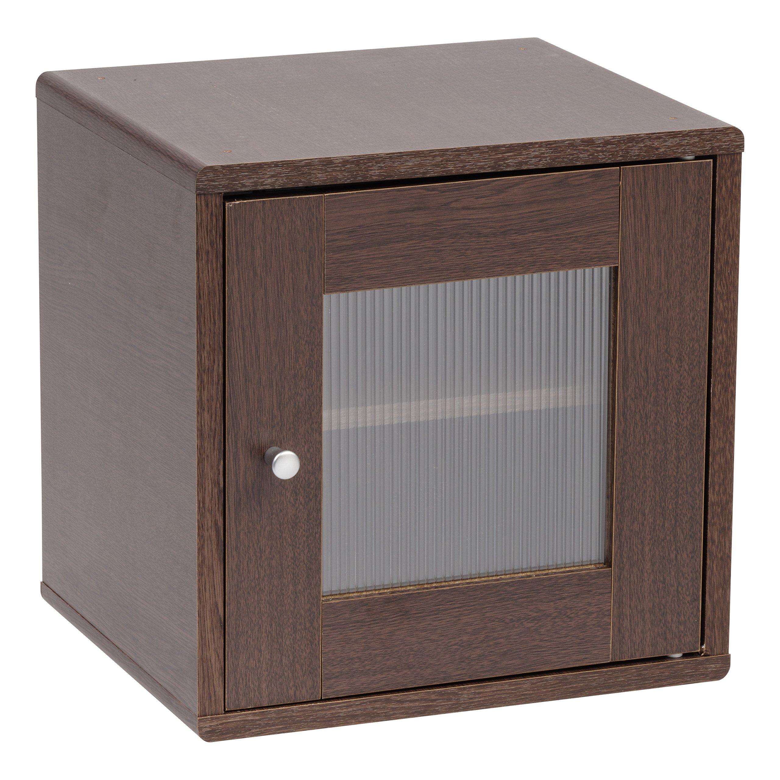 IRIS USA, QR-34PDT, Wood Storage Cube with Window Door, Brown Oak, 1 Pack