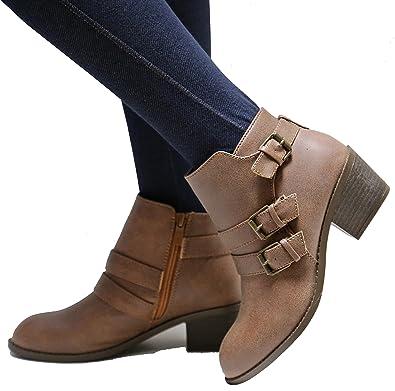 Women Eu4 Buckle Western Ankle Booties Low Heel Boots