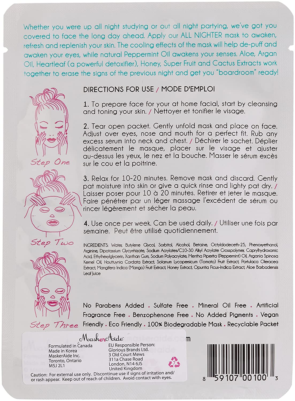 MaskerAide All Nighter Facial Sheet Mask