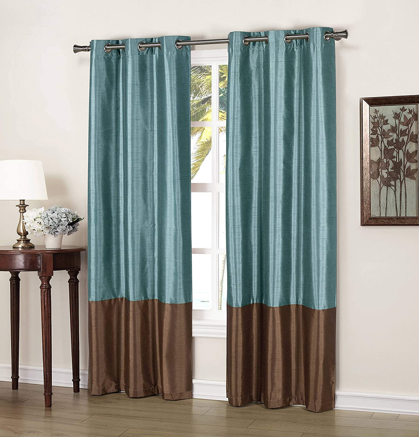 Duck River Textiles - Home Fashion Faux Silk Thermal Blackout Room Darkening Grommet Top Window Curtains Pair Panel Drapes for Bedroom, Living Room - Set of 2 Panels - 37 X 84 Inch - Blue & Brown