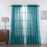No 918 44082 Tayla Crushed Texture Semi Sheer Rod Pocket Curtain Panel 50 X 95 Marine Teal Home Kitchen