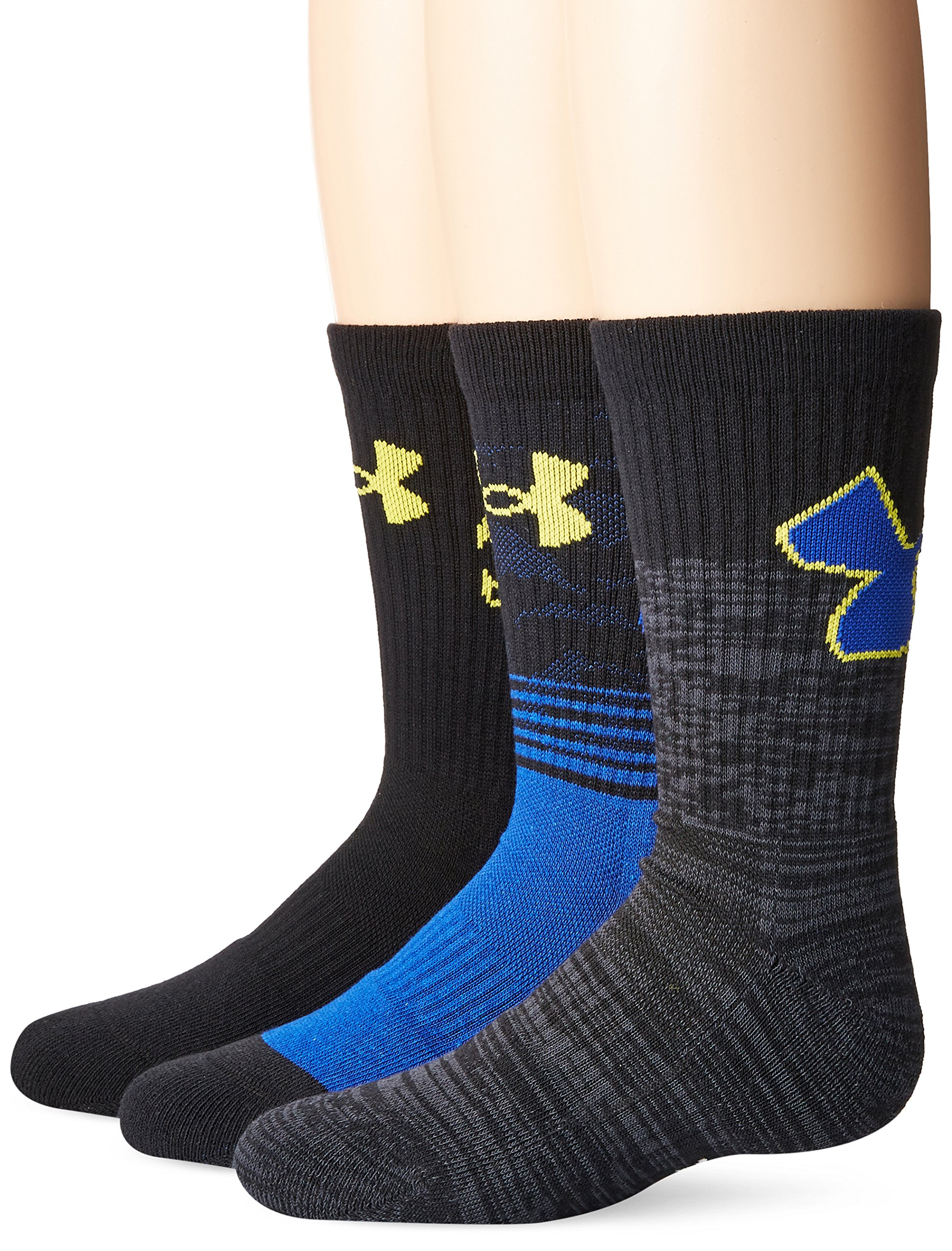 Under Armour U379B Boy's Boys Phenom Curry Crew (3 Pack), Royal, Youth Large by Under Armour