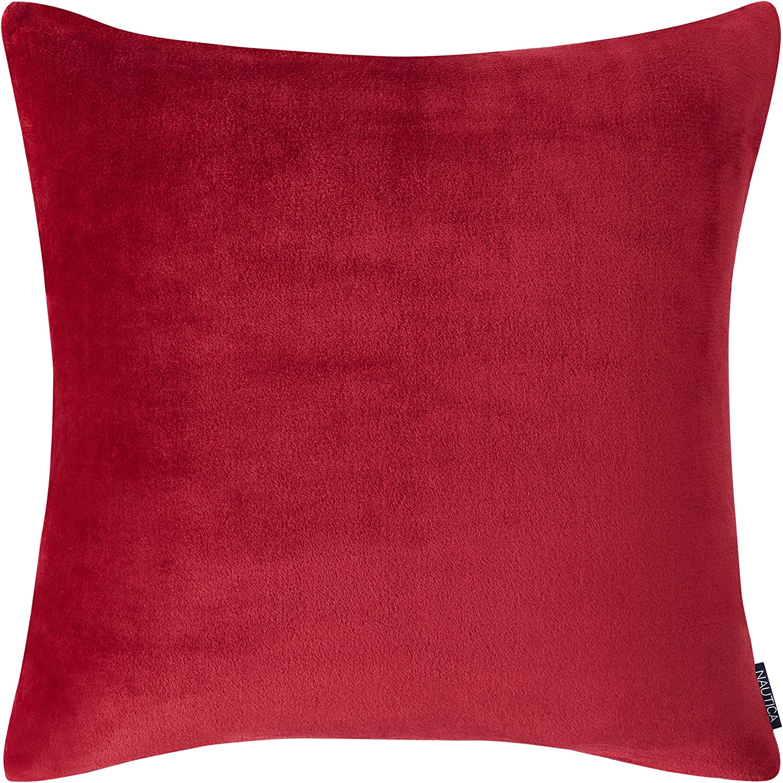 Nautica Solid Ultra Soft Plush Euro Sham, 26 x 26, Red