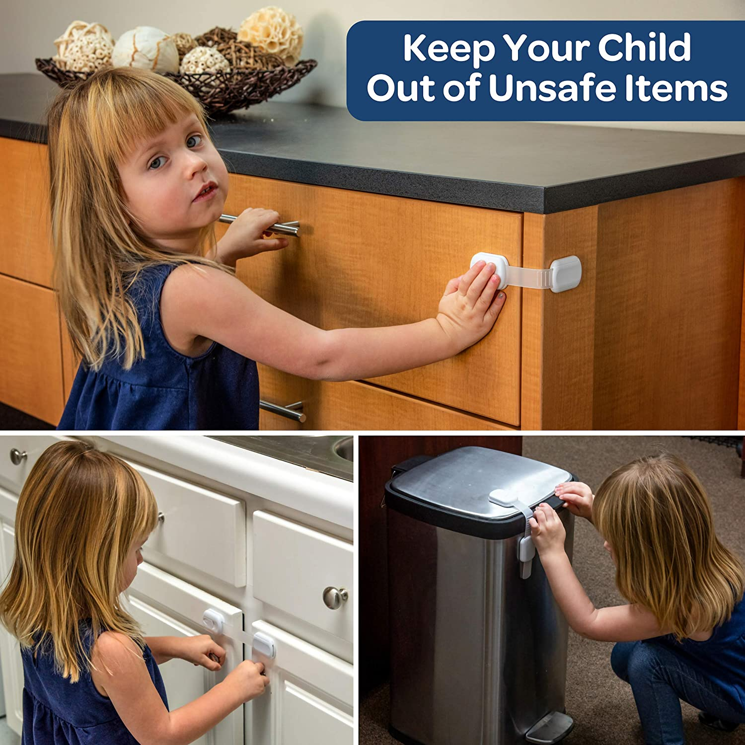 Cupboard Drawer Quick No Tools Installation! Appliance /& More - Baby Proof Cabinet Wittle Child Safety Cabinet Locks Simple to Use 8 pk, White, Clear Straps, 4 Bonus 3M Adhesives