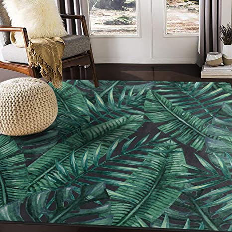 Amazon Com Alaza Watercolor Tropical Palm Tree Leaves Area Rug For Living Room Bedroom 5 3 X4 Home Kitchen