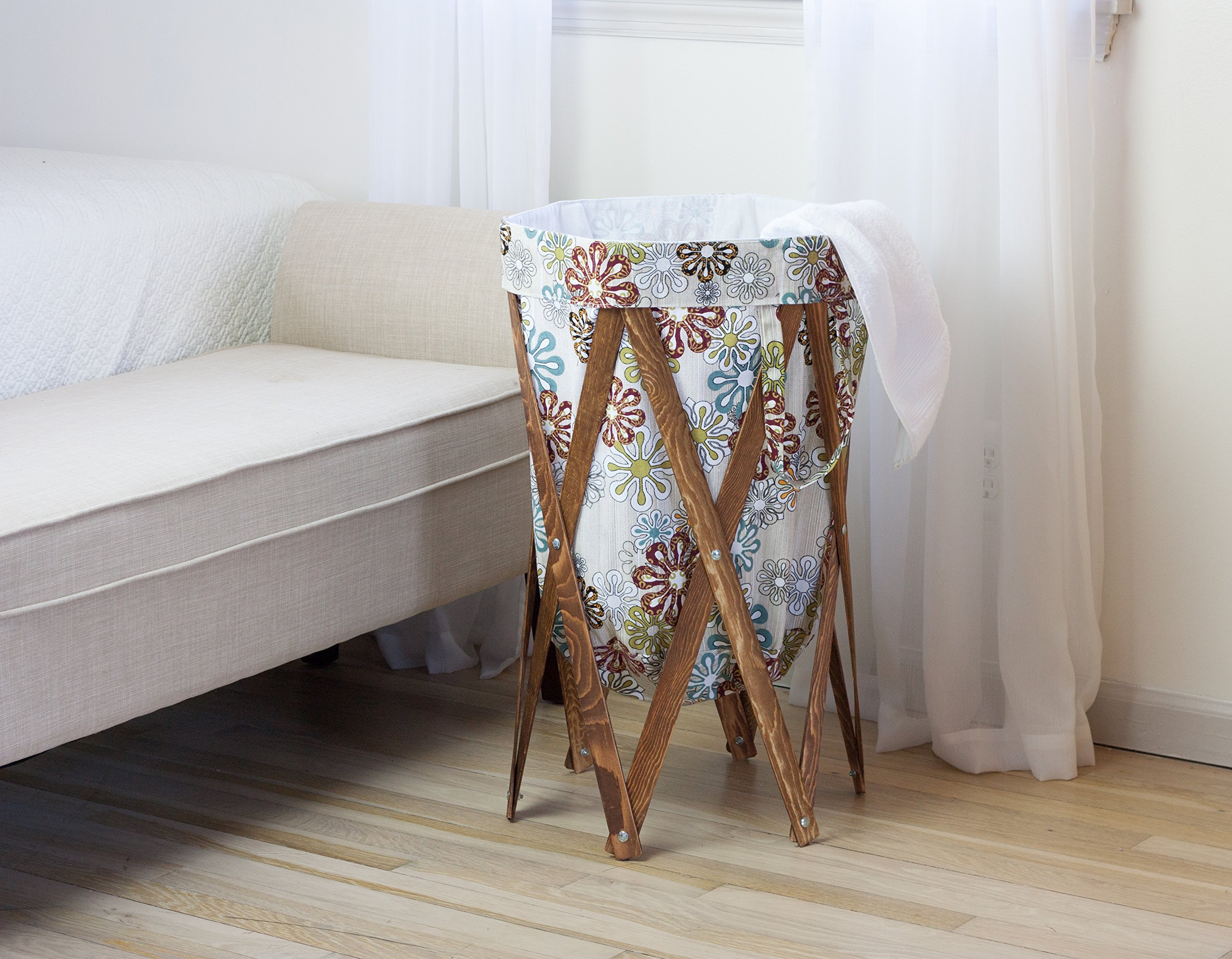 MAX + RAE Collapsible Laundry Hamper with Stained Wood Frame | Dirty Clothes Storage | Removable Fabric Bag with Handles, Easy to Carry and Clean | Nursery, Kids Bedroom, Bathroom (Flower Art 2) by MAX + RAE (Image #3)