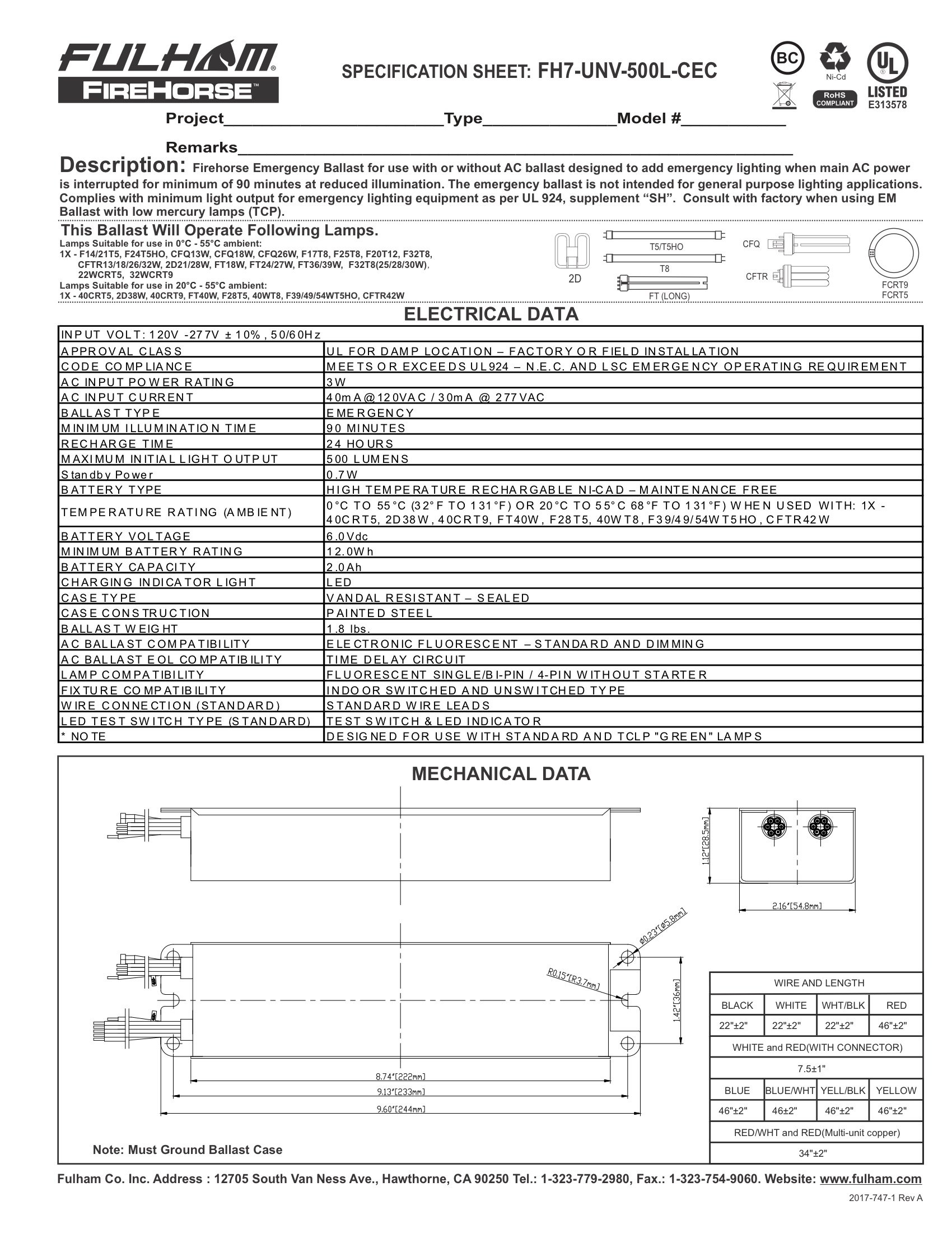 Fulham Lighting FH7-UNV-500L-CEC FireHorse 7-Emergency Ballast-Universal Voltage-500 Initial Lumen Output by Fulham Lighting (Image #2)