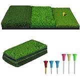 NEWCARE Golf Hitting Mat,3-in-1 Foldable Grass Mat- Practice Tri-Turf Chipping Mat Golf mat for Backyard,Portable Hitting Sur