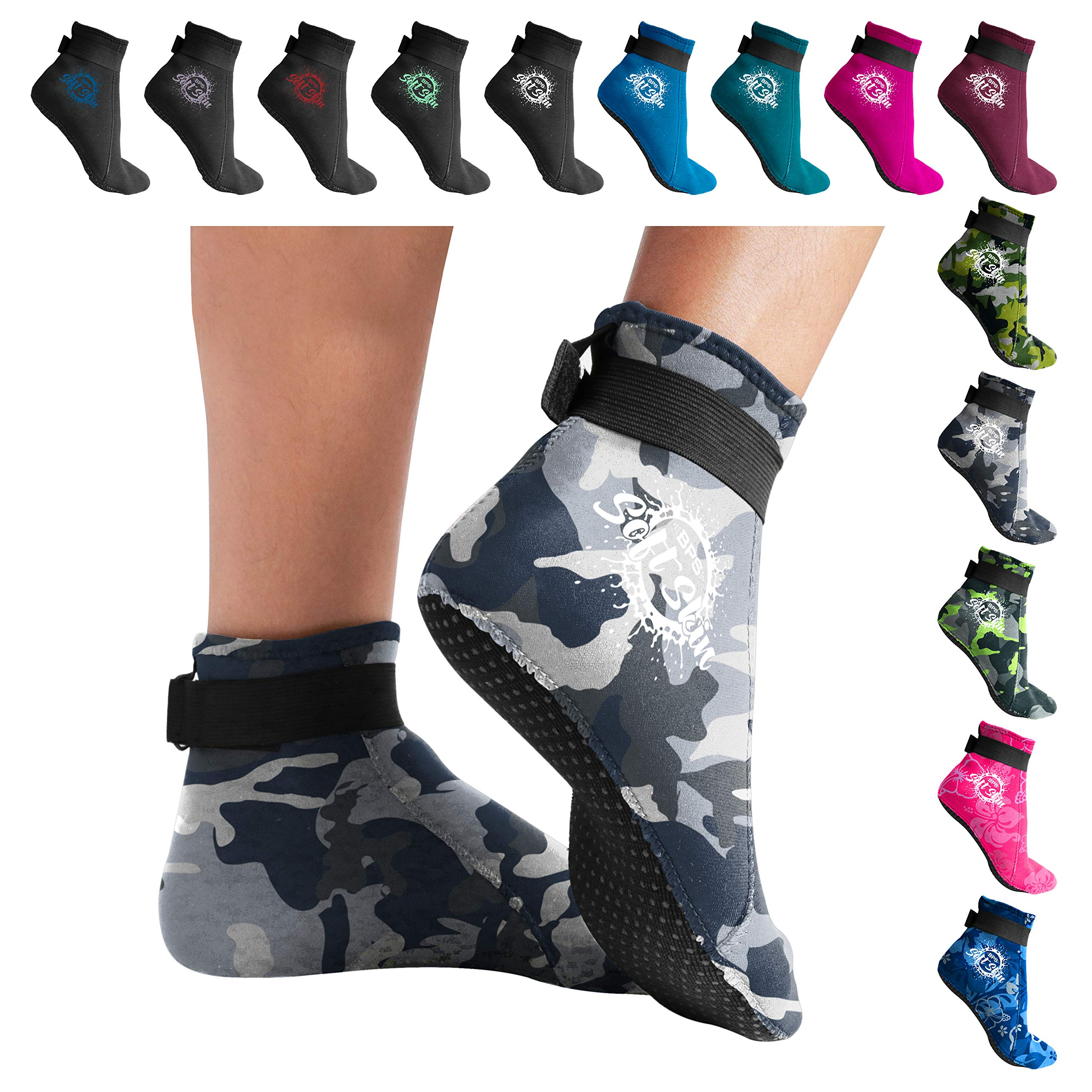 BPS 'Soft Skin' 3mm Neoprene Diving Socks with Grip - Sand, surf, Snorkel, Kayak, and Other Water Sports - Low Cut (Grey Camo, L)