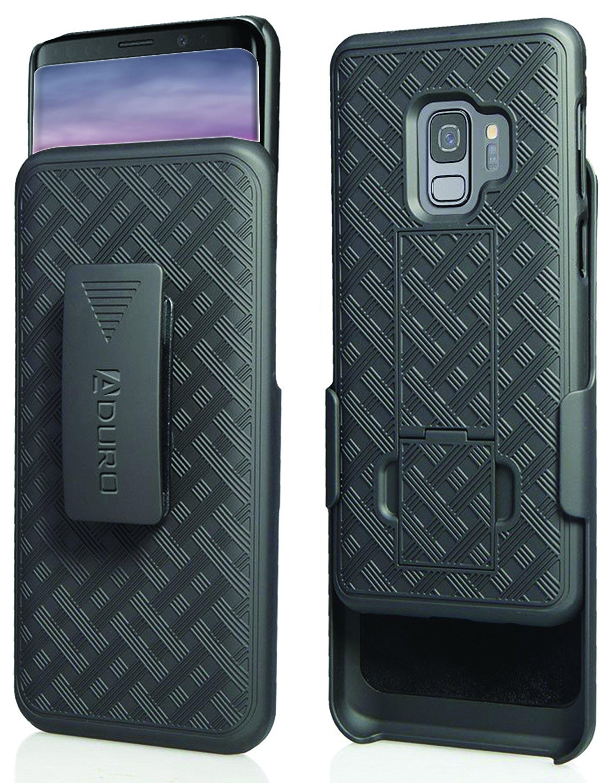 Aduro Galaxy S9 Case Kickstand Belt Clip Holster, Combo Galaxy Case Rotating Belt Clip Super Slim Shell Samsung Galaxy Belt Clip Case Samsung Galaxy S9 (NOT Plus) Cell Phone (2018) Black