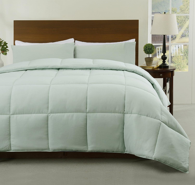 Super 2 Pieces Twin Size Down Alternative Comforter Set, Aqua Green Color Reversible Bed Cover Set