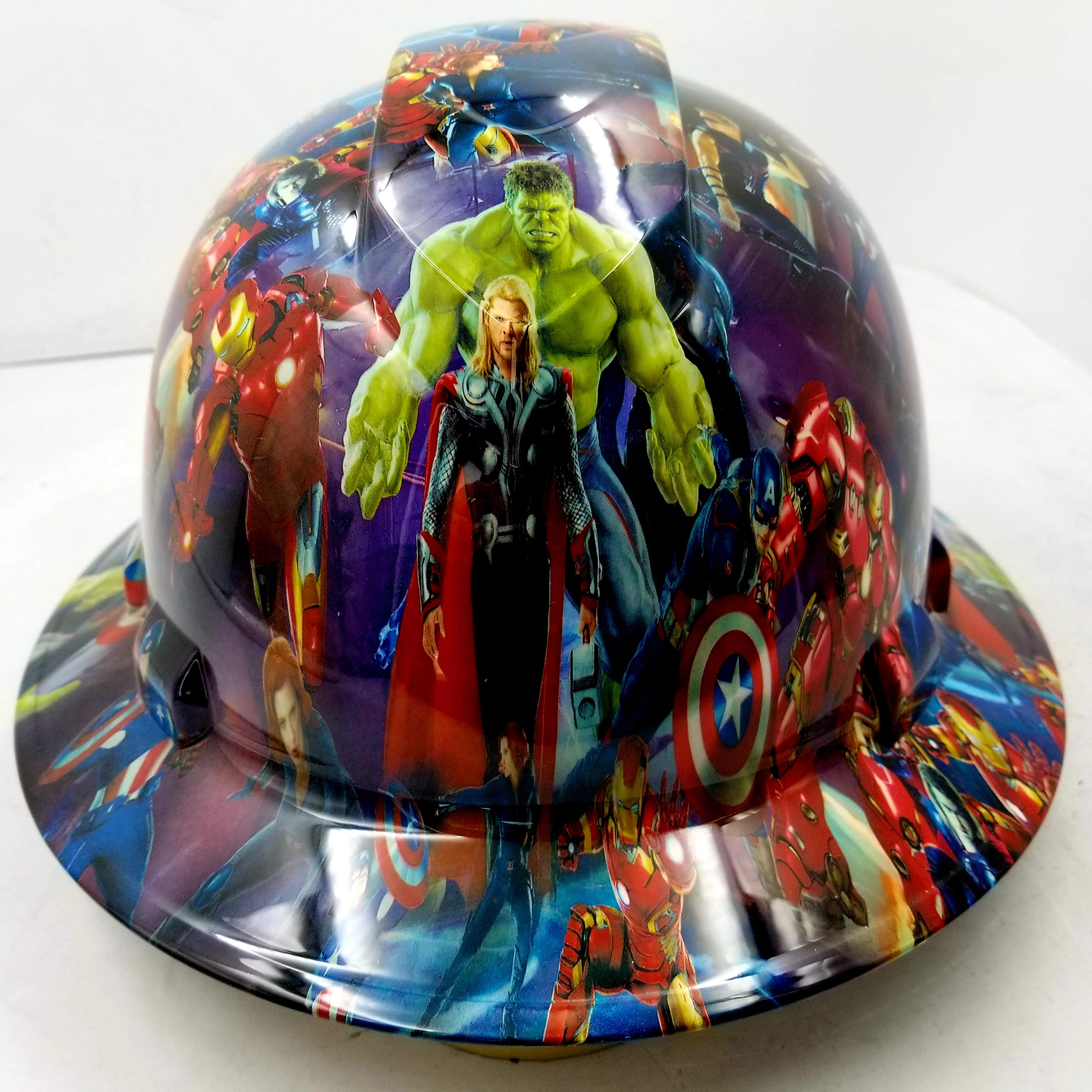 Wet Works Imaging Customized Pyramex Full Brim Superheroes Hard HAT with Ratcheting Suspension Custom LIDS Crazy Sick Construction PPE by Wet Works Imaging
