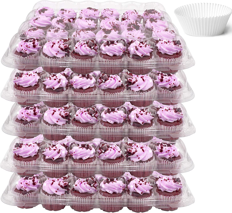 10Pcs Plastic Single Compartment Cupcake Muffin Dome Box Container 24 x 24 x 8cm