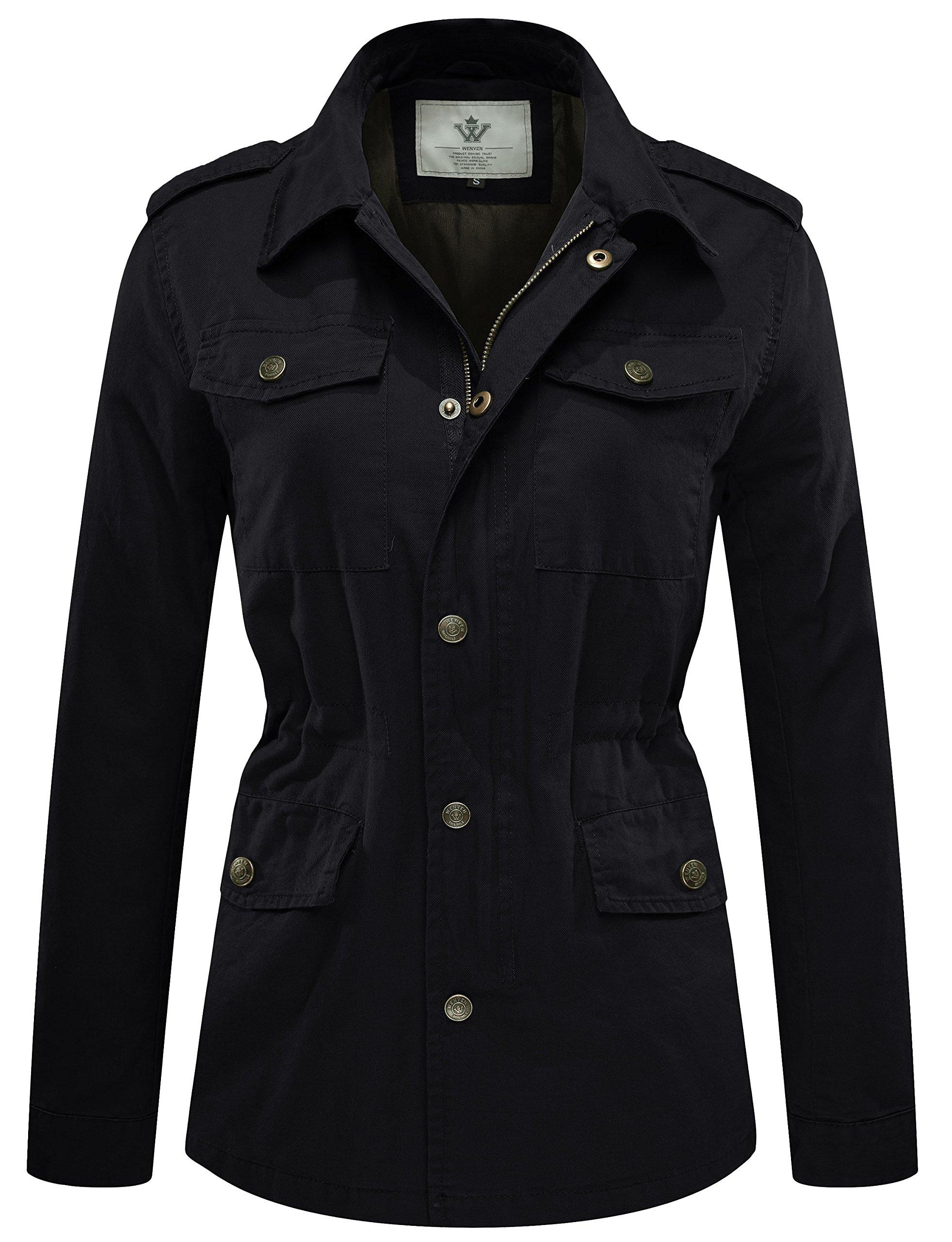 WenVen Women's Anorak Utility Safari Military Jacket Pockets(Black,X-Large)