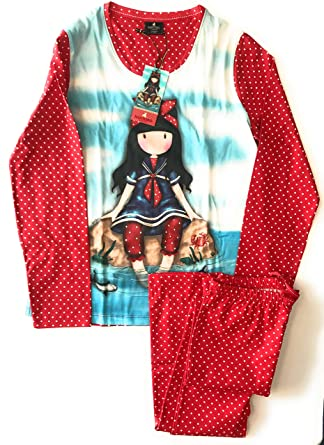 Santoro pijama de mujer manga larga rojo talla XL