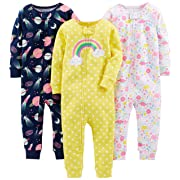 Simple Joys by Carter's Baby Girls' 3-Pack Snug Fit Footless Cotton Pajamas, Dinosaur, Space, Rainbow, 6-9 Months