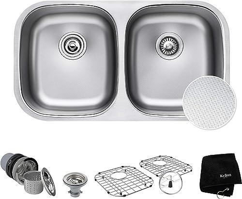 Kraus Outlast MicroShield Scratch-Resist Stainless Steel Undermount 50 50 Double Bowl Sink, 32 16 Gauge, Premier Series KBU22E