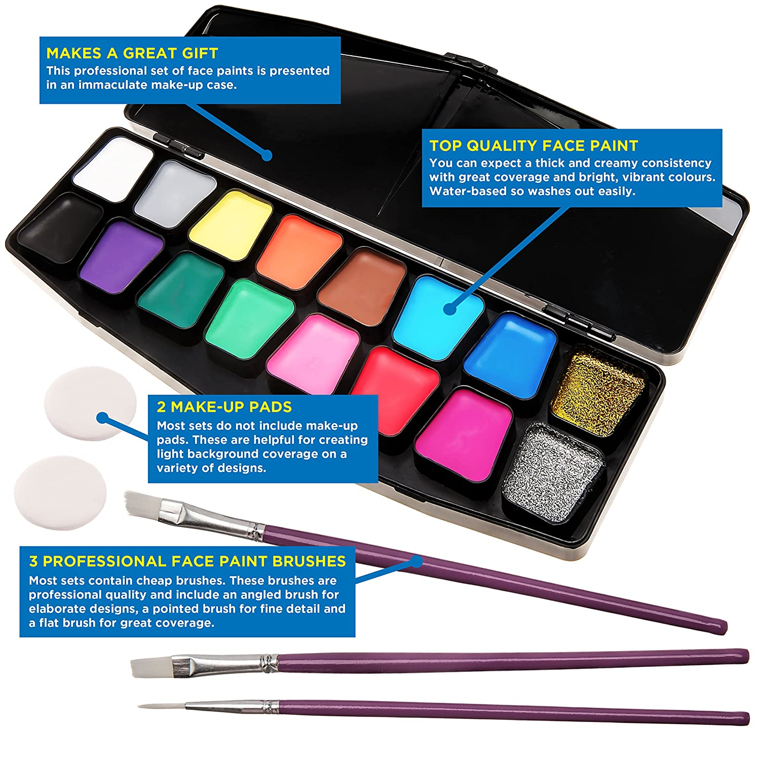 face paint kit big bumper 16 pack for kids with make up case