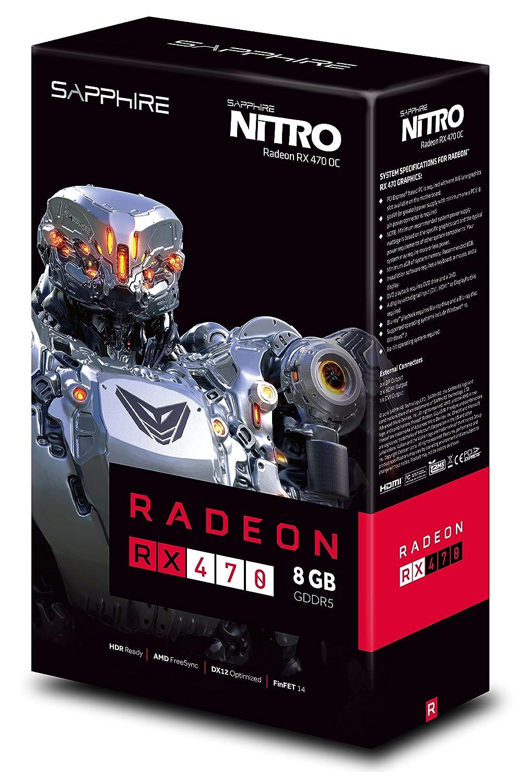 Amazon.com: Sapphire Radeon Nitro RX 470 8 GB GDDR5 Tarjeta ...