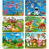 Dreampark Puzzles for Kids Ages 3-8, 6 Pack Wooden Jigsaw Puzzles 60 Pieces Preschool Educational Learning Toys Set for Boys