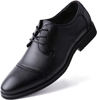 908c59870128 Marino Oxford Dress Shoes for Men - Formal Leather Mens Shoes - Black - Cap-