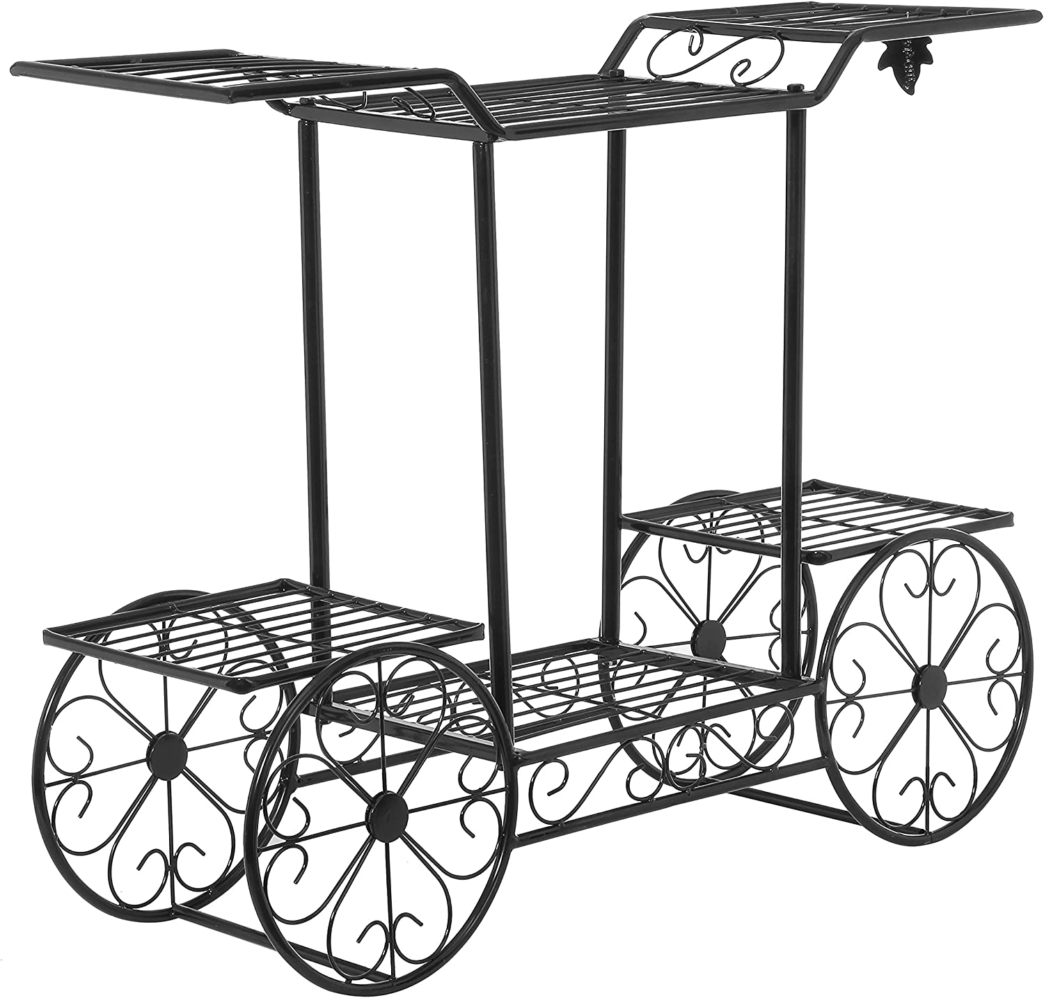 Black Metal 6-Tier Garden Cart Planter Stand, Flower Pot Display Rack