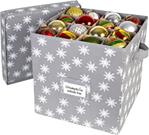 Christmas Ornament Storage Box with Lid - Store up to 64 Christmas Ornaments and Holiday Decor, A Storage Cube and Christmas Box Container to Help Preserve Holiday Decorations