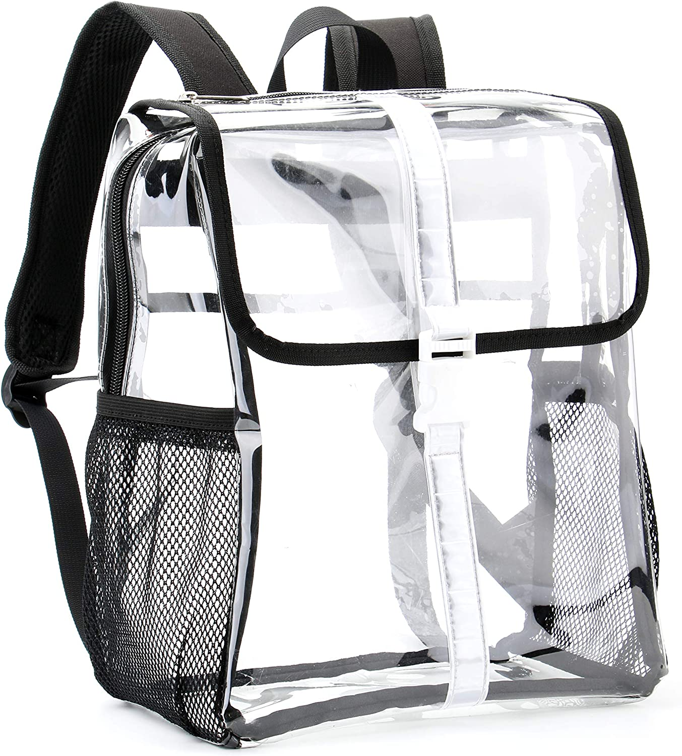 Heavy Duty Clear Backpack Durable PVC Backpacks Reflective Stripes Design for School Concert Work Security Travel Sports