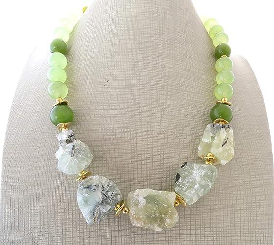 249516d8995c Collar de prehnite verde y jade natural