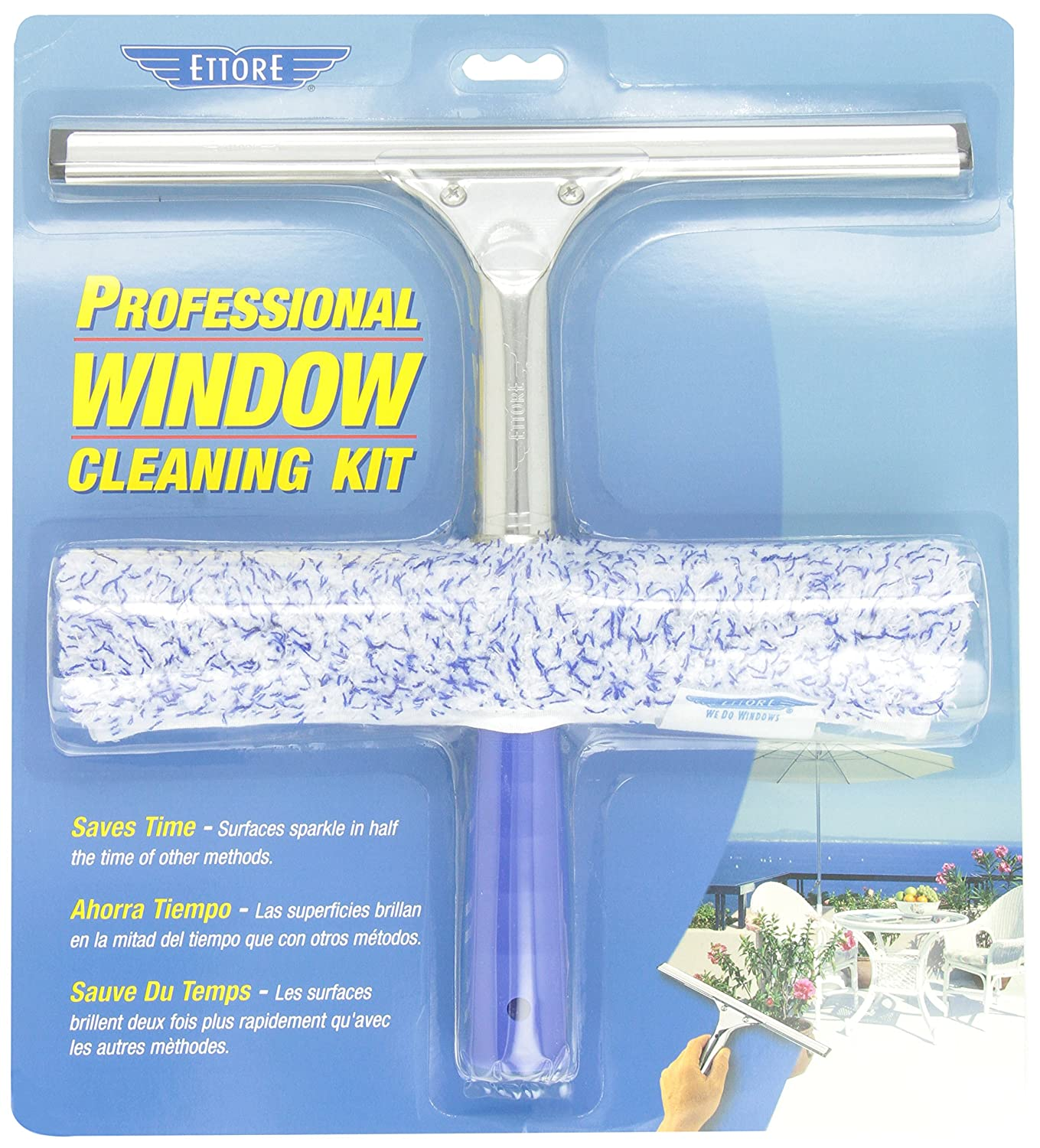 Ettore Professional Window Cleaning Kit - 12-inch Original Squeegee and 10-inch Mighty Washer