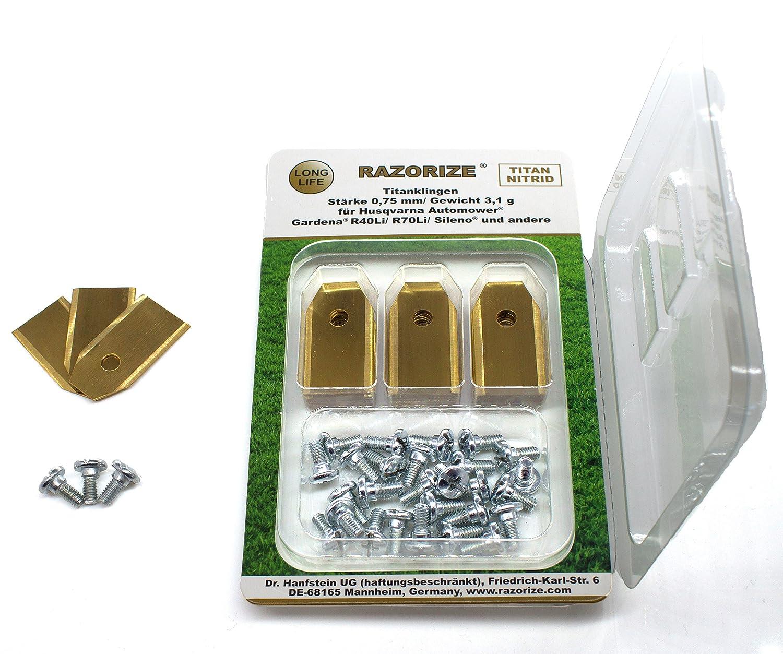 30 St/ück RAZORIZE/® 30x Longlife Titan Ersatz-Messer Klingen F/ür Alle Husqvarna//Gardena//Yardforce//McCulloch M/ähroboter//Automower Mit Schrauben 3,1 g//0,75 mm