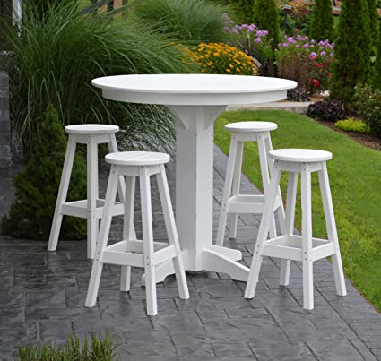 Patio Furniture Dining Table Set   5 Piece Outdooor 44u0026quot; Round Pub Bar  High Top