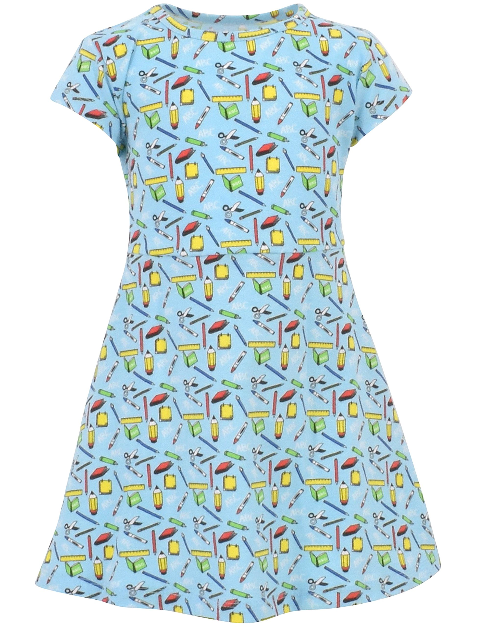 Unique Baby Girls Back to School Dress (7, Blue)