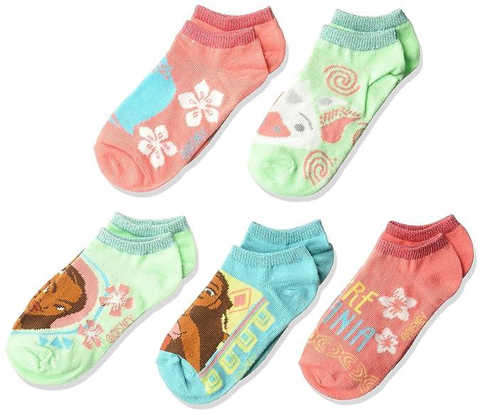 Disney Girls Moana 5 Pack No Show Socks