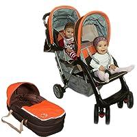 Passeggino fratelli o gemellare arancione Top Design - BambinoWorld