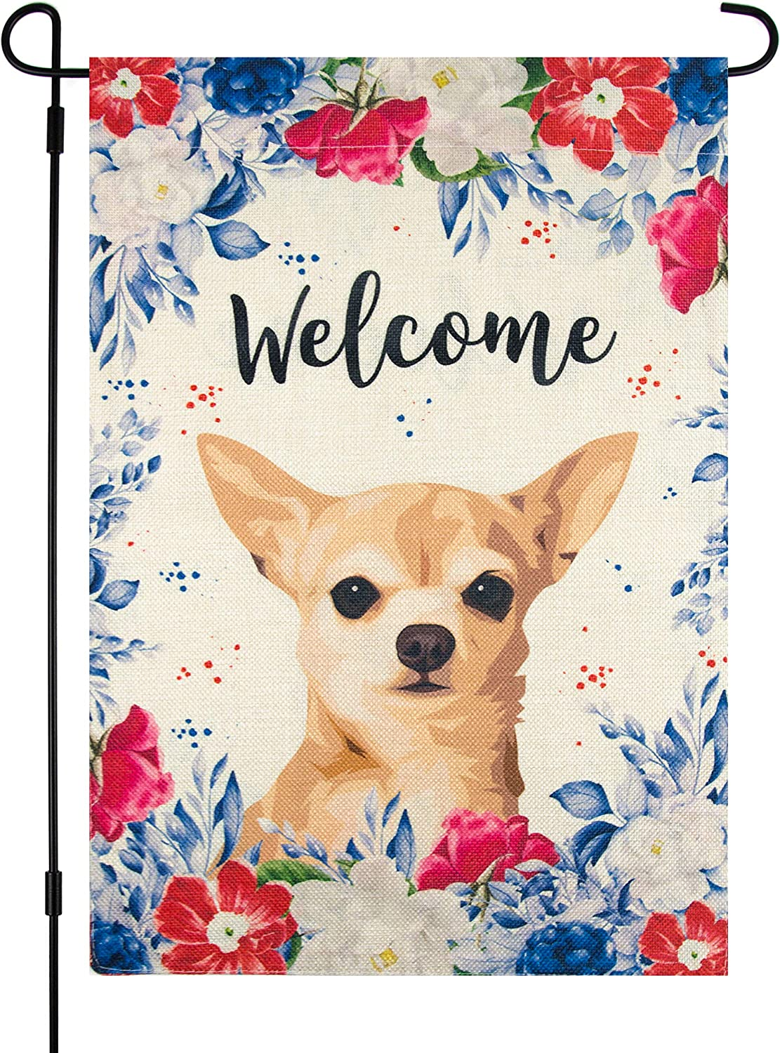 Garden Flag with Chihuahua Dog, 12 x 18 Inch, Welcome Summer, Double Sided Burlap, Red White Blue Flowers, Outdoor Decor, American Garden Flag