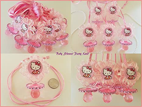 78725a7c6 Amazon.com: 12 Hello Kitty Pink Pacifier Necklaces Baby Shower Game Favors  Prizes Girl Decor: Health & Personal Care