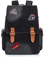 Leaper Vintage Denim Laptop Backpack School Bag Drawstring Bag Shoulder Daypack