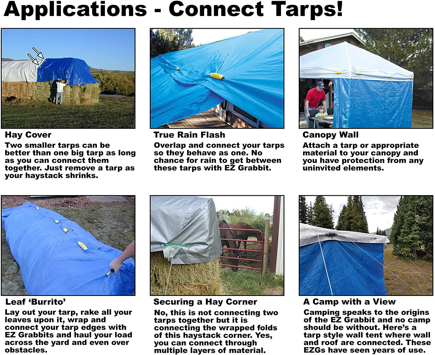 Heavy Duty Clamps//Tarp Hold Downs Perfect for Small//Large Tarps Awnings 800 Lbs 8-Sets Outdoor Camping J-Link Cargo//Tarp Tie Downs 16-Pack Work Load Car Tarp Cover Swimming Pool Tarp