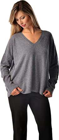 Cashmere Boutique: Women's 100% Pure Cashmere V Neck Boyfriend Sweater (5 Colors, Sizes: SMLXL)