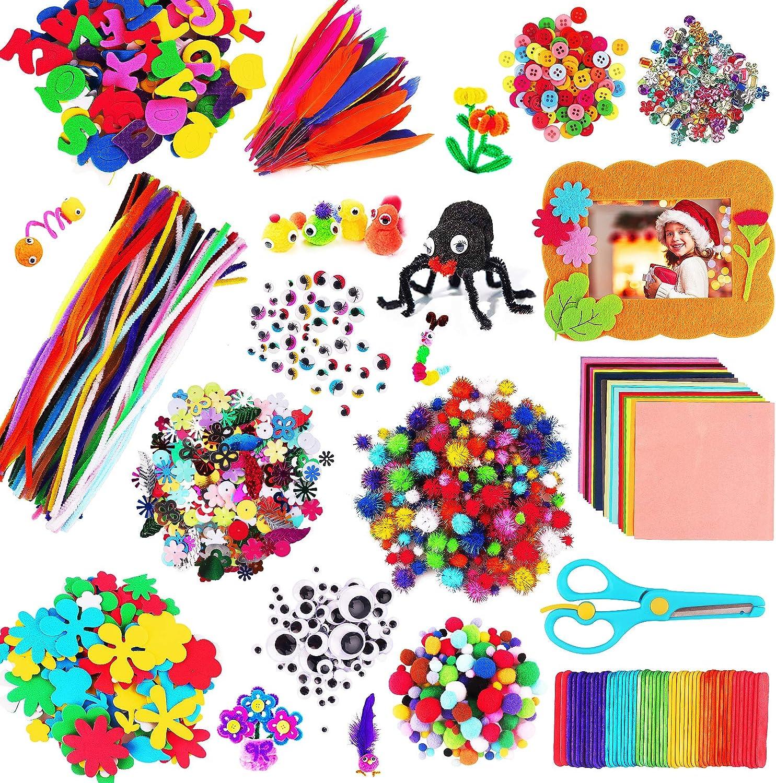 aovowog 1600+ Kit Manualidades Niños,Juegos de Manualidades,DIY Arts Crafts Set Materiales Incluye Limpiadores de Pipa Chenilla,Pompoms con Wiggle Eyes y Craft Sticks,Juego Creativo Regalo para Niños