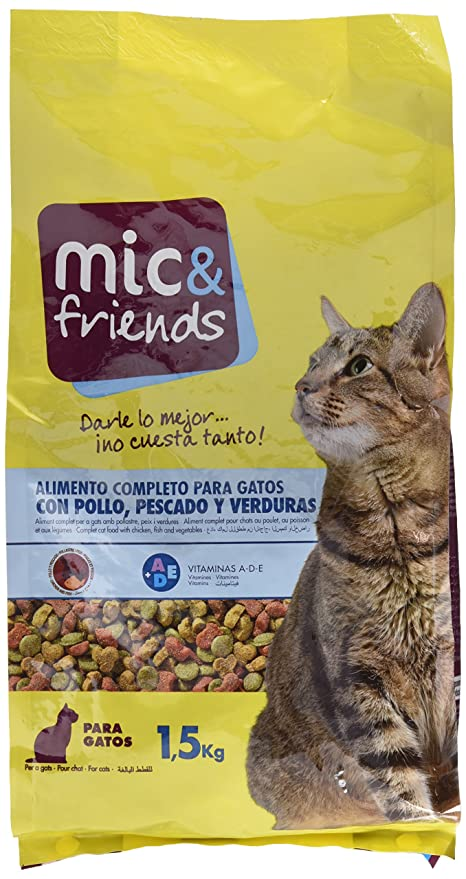 Mic & Friends Alimento Completo para Gatos con Pollo, Pescado y Verduras - 1500 gr