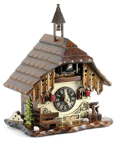 Reloj De Cuco de madera en la selva negra con batteriebetriebenem quartzwerk y Cuco RUF –
