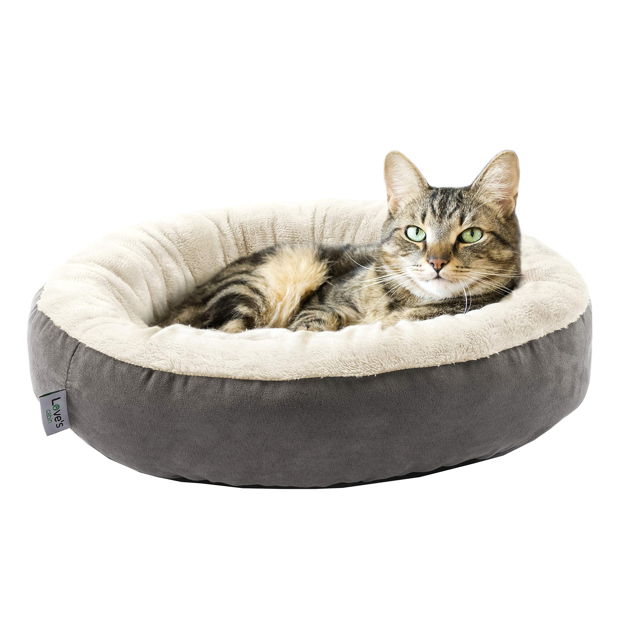 Love's cabin Round Donut Cat and Dog Cushion Bed, 20in Pet Bed for Cats or Small Dogs, Anti-Slip & Water-Resistant Bottom, Super Soft Durable Fabric Pet beds, Washable Luxury Cat & Dog Bed Gray by Love's cabin