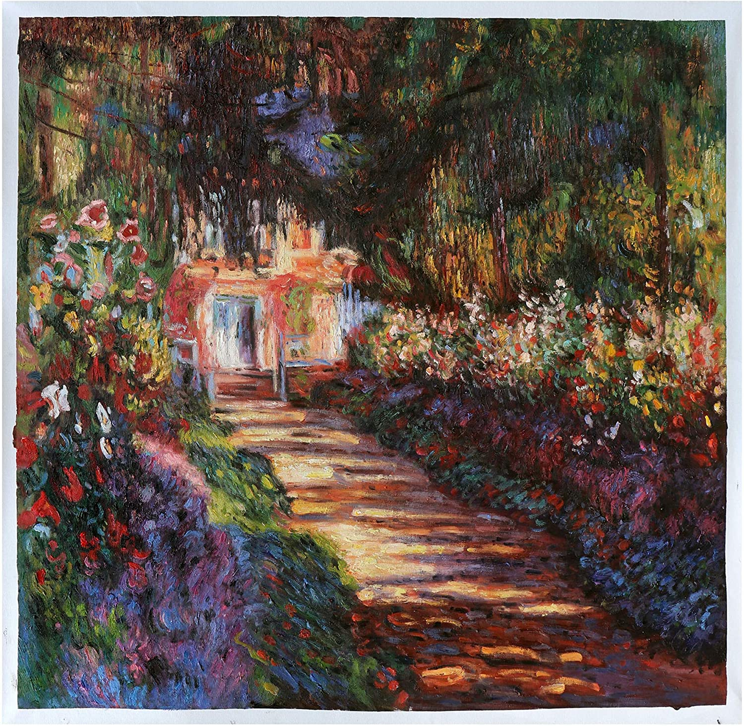 Pathway in Monet's Garden at Giverny - Claude Monet Hand-Painted Oil Painting Reproduction,Blossom Flower Garden,Living Room Large Wall Art (35.3 x 36.4 inches)
