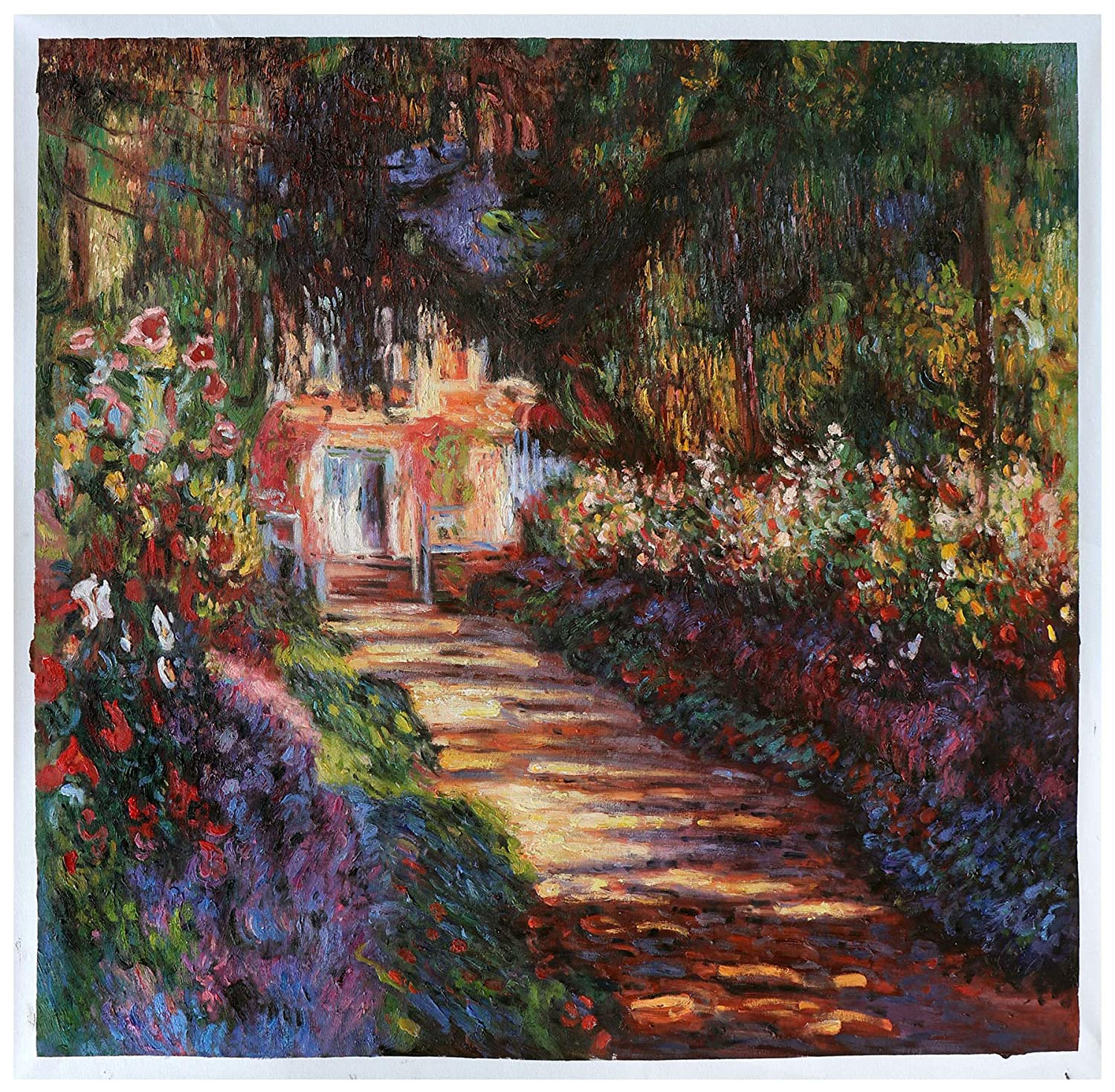 Pathway in Monet's Garden at Giverny - Claude Monet hand-painted oil painting reproduction,blossom flower garden,living room large wall art