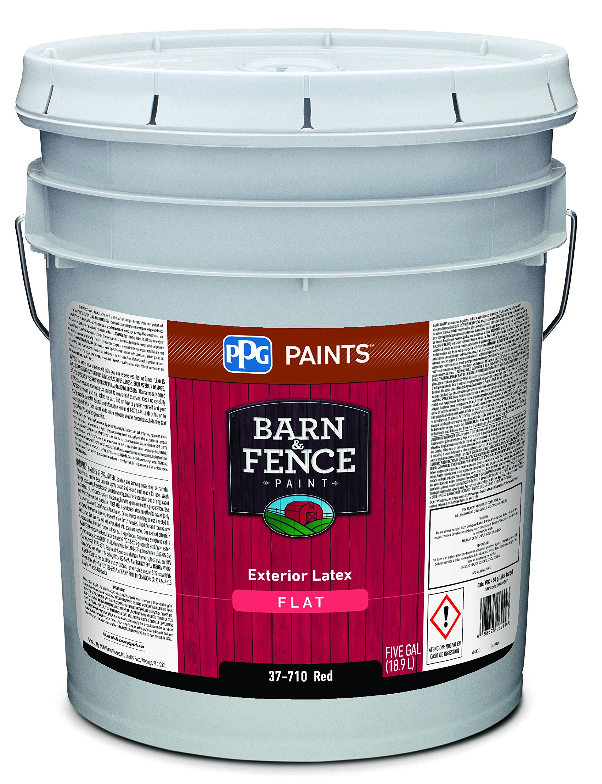 37-710/05 Latex Paint, Flat, 5 gal, Barn and Fence, Exterior Paint for Barn  and Fence, Red