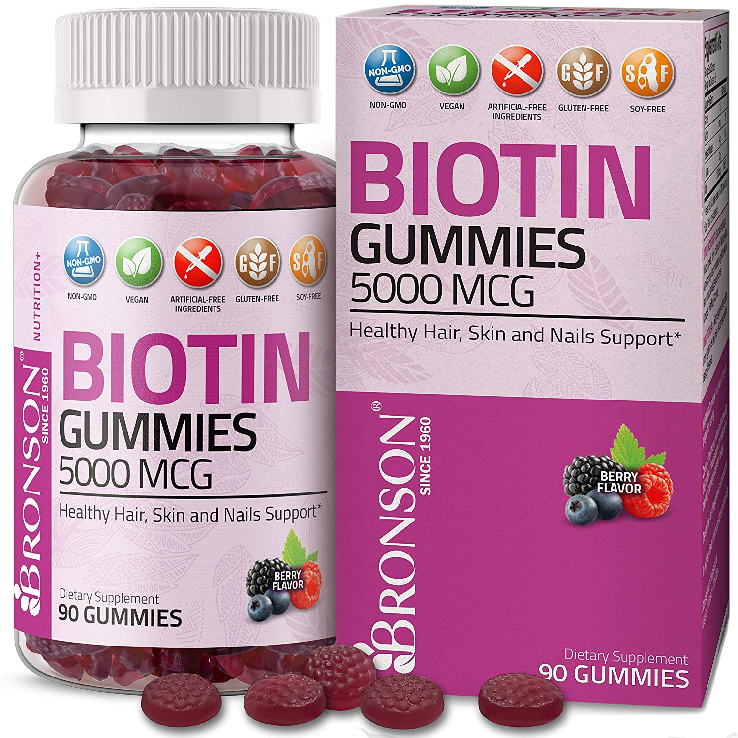 Bronson High Potency Biotin Gummies 5000 mcg Natural Hair Skin & Nails, Vegan Pectin-Based Non-GMO Gluten & Soy Free, 90 Gummies