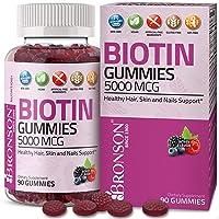 Bronson High Potency Biotin Gummies 5000 mcg Natural Hair Skin & Nails, Vegan Pectin-Based...